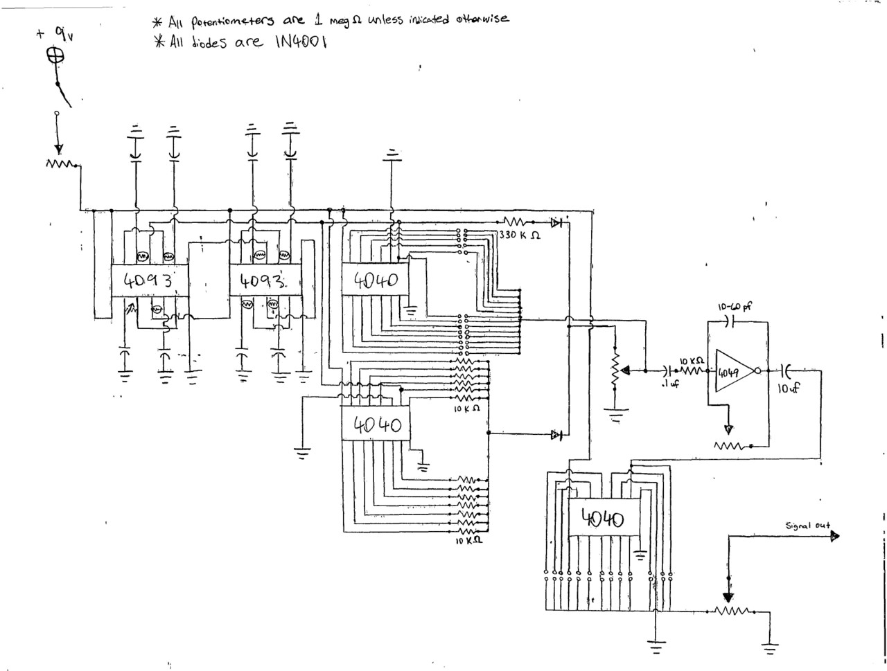 Schematics for Electronic Instrument